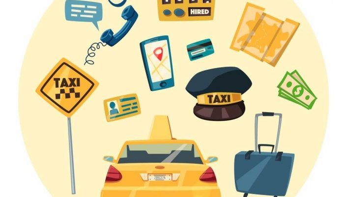 Taxi service. Cartoon vector illustration. Order and payment. Public auto transport banner. Landing and trip. Car in the city.